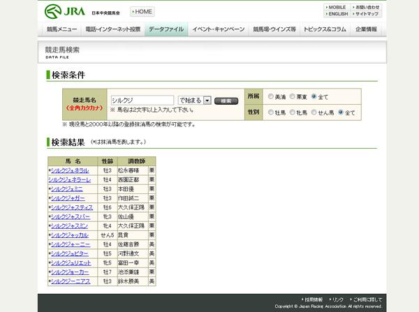 競走馬「シルクジ」検索結果ページ